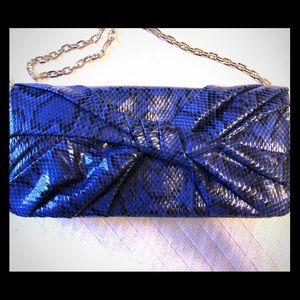 White House Black Market Sapphire Snakeskin Clutch